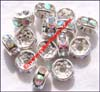 Bead Alloy Silver Painted Czech AB Crystal