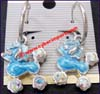 Earring Alloy Rhinestone Blue Poodle Dog