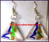Earring Glass Murano Bead Silver Foil 1 Pair