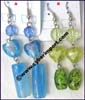 Earring Glass Murano Bead Heart Acrylic