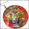 Earring Mother of Pearl Painted Disk