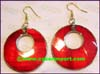 Earring Mother Pearl Shell Red Hoop
