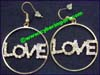 Earrings Czech Rhinestone Love Hoops