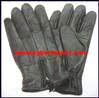 Gloves Leather Black Zip