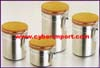 Serving Canister Stainless Wood Set of 4pcs