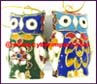 X-Mas Figurine Cloisonne Painted Two Sides Chinese Owl